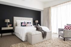 bulkhead with downlights and then back wall paint or wallpaper! Contemporary Bedroom by Carmen Parker Styling