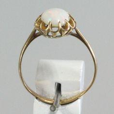 K18, オパール、菊爪、大正・昭和初期、日本宝飾クラフト学院