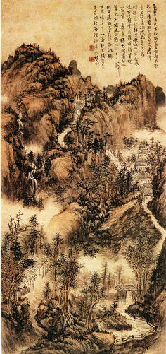 """清代 - 髡殘 - 蒼翠凌天圖                       纸本设色,85×40.5cm, 南京博物館藏。髠殘 ( Kuncan, 1612-1673),號石谿,一號壤,自稱殘道人,晚署石道人。擅畫人物、花卉,尤精山水。師法黄公望、王蒙,尤近于王蒙。其畫章法嚴密,筆法蒼勁,喜用秃筆渴墨,層層皴擦勾染,厚重而不板滯,郁茂而不迫塞,平淡中見幽深。    此圖全幅景物茂密,奥境深幽。 自题诗曰:""""苍翠凌天半,松风晨夕吹,飞泉悬树杪,清磬彻山陲,屋居摩崖立,花明倚硐披,剥苔看断碣,追旧起馀思,游迹千年在,风规百世期,幸从清课后,笔砚亦相宜。雾气隐朝晖,疏村入翠微,路随流水转,人自半天归,树古藤偏坠,秋深雨渐稀,坐来诸境了,心事托天机。""""款署:""""时在庚子深秋,石溪残道人记写。"""""""