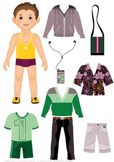 Trendy Boy Paper Doll with a Set of Fashionable Clothes Paper crafts Paper Dolls Clothing, Paper Clothes, Clothes Crafts, Doll Clothes, Paper Doll Template, Paper Dolls Printable, Paper Toys, Paper Crafts, Clothes Worksheet