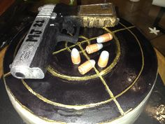Gun Cake Gun Cakes, Funny Birthday Cakes, Desserts, Food, Tailgate Desserts, Deserts, Essen, Postres, Meals