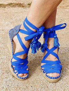 Blue Hight Wedge Sandals Spanish espadrilles Boho style Alpargatas made in  Spain f07789e163