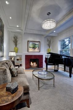 contemporary living room by Domiteaux + Baggett Architects, PLLC... like room arrangement with grand piano.