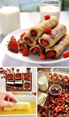 recette de pain perdu roulé au nutella et fraises pour un petit-déjeuner gourmand à deux ou entre amis