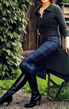 Boots and Black Watch Tartan Pencil Skirt