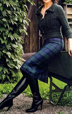 Boots and Black Watch Tartan Pencil Skirt