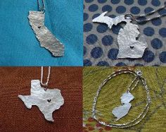 ** Customized State Necklace (sterling silver)