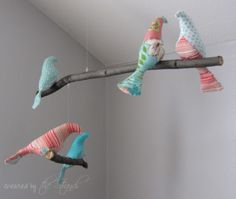 Mobile - Fabric Birds w/ Branches
