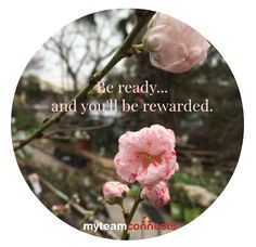 Be ready, and you'll be rewarded.