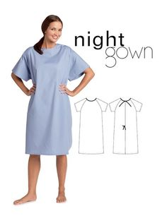 turn a nightgown into a hospital gown Nightgown Pattern, Kimono Pattern, Maternity Scrubs, Maternity Dresses, Hospital Gown Pattern, Birthing Gown, Gown Drawing, Medical Uniforms, Hospital Uniforms