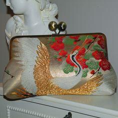 Silk Kimono Fabric Bag/Purse/Clutch..Embroidered Flying Crane..Cherry Blossom..Large 10 inch Frame. $150.00, via Etsy.
