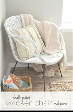 So cute!! This blogger salvaged a rusty and burned wicker chair and transformed it into the perfect weathered, beachy accent using chalk paint!