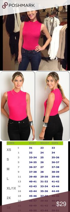 Hot Pink Bodysuit This sleeveless body suit features a ribbed material and snap closure. Wonderful color and knit material. (This closet does not trade or use PayPal) Tops