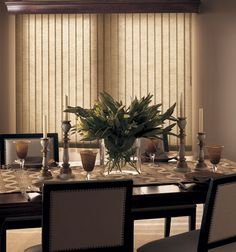 Bali Spectrum Fabric Vertical Blinds in Crystal with Regal Wood Cornice in Deep Cherry