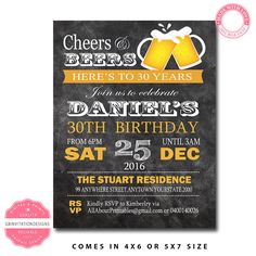 CHEERS For BEERS BIRTHDAY Invitation, Mens Birthday Invitation, Adult Birthday Invitation, Mens 30th birthday Invitation, Surprise Birthday by GBInvitationDesigns on Etsy https://www.etsy.com/listing/269449598/cheers-for-beers-birthday-invitation