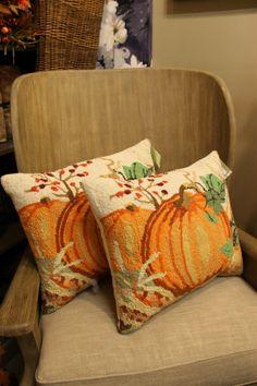 hooked rug pumpkin pillows