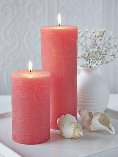 Coral Pillar Candles #nordichouse Decoración con Velas                                                                                                                                                                                 More