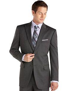 Jones New York Charcoal Stripe Peak Lapel Suit