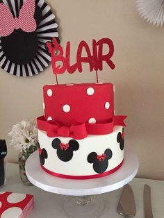 """Love this Minnie birthday cake at Blair's """"Oh-Twodles"""" 2nd Birthday! It's so cute! See more party ideas and share yours at CatchMyParty.com"""