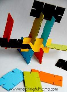 Cardboard stackers upcycle craft kids