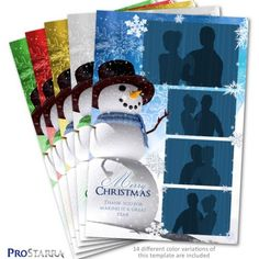 This snowman Christmas photo booth template is 4x6 inches (postcard size). It's the same height as a traditional photostrip, but it's twice as wide - providing room to add a seasonal message or company logo. The snowman and snowflakes really help to create a winter wonderland type of feel to this layout. Christmas Thank You, Christmas Snowman, Christmas Holidays, Print Layout, Layout Design, Holiday Photos, Christmas Photos, Photobooth Layout, Photo Booth Design