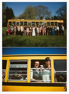 Renting a school bus for your #wedding...such a great idea! From http://100layercake.com/blog/2012/10/22/portland-diy-wedding-mackenzie-nicholas/#  Photo Credit: http://bryanaulick.com/