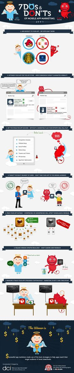 Infographic on 7 Dos and Don'ts of Mobile App Marketing