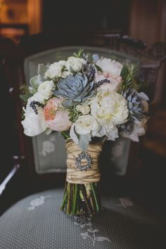 Wedding bridal bouquet - rustic raffia-tied flowers with juliet roses, succulents, seeded eucalyptus, ranunculus