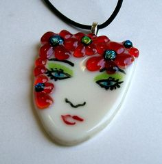 Fused Glass Art Pendant (Lady in Red)