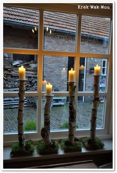 interesting tree branch candle sticks...I would use batteryoperated candles in them...This says: berken stammetjes met een stuk steigerplank als voet en oude schaaltjes bovenop