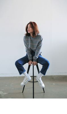Relaxed Striped Long Sleeve T-Shirt (Gray) | STYLENANDA