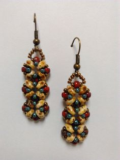 Picasso earrings Earthy colors - Red picasso, creamy white picasso, marble turquoise