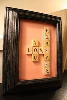Scrabble sign: You can find old Scrabble games at thrift stores, sometimes for 50 cents or no more than a couple of dollars. Sometimes they do not have all the tiles, but do have most of them. Cool and pretty inexpensive way to get craft supplies!