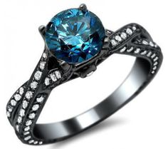 1.81ct Blue Round Diamond Engagement Ring 14k Black Gold = Gorgeous!!!! To bad its too expensive!! Lol
