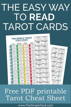 Learning the tarot card meanings doesn't have to be so frustrating or hard. Make it easy on yourself with this Tarot Cheat Sheet PDF – which is totally free and super simple to use. Diy Tarot Cards, Rider Waite Tarot Cards, Tarot Cards For Beginners, Tarot Card Spreads, Witchcraft For Beginners, Tarot Meanings, Tarot Readers, Printable Cards, Tarot Decks
