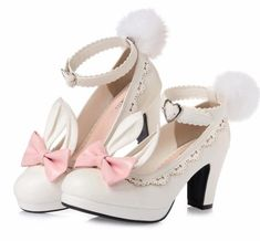 FREE Shipping Worldwide! These kawaii bunny rabbit ear shoes are just the sweetest lolita inspired high heels you'll ever own! With an elegant block heel, removable pom pom bunny tails and bunny ears, these are comfortable to walk in AND to wear. A secure buckle strap around the ankle helps with stability, and a Kawaii Fashion, Lolita Fashion, Bunny Tail, Bunny Rabbit, Wedge Heels, High Heels, Ddlg Outfits, Sailor Moon Merchandise, Baby Buns
