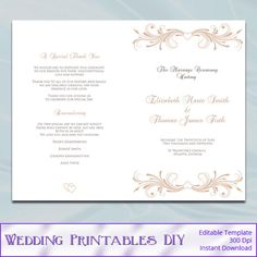 Menu Templates Free Microsoft Fascinating Wedding Ceremony Program Template Diyweddingprintablesdiy $8.00 .