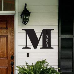 Letter Wall Address Plaque – Leslie H. - Home Decor Decorative Letters, Decor, Front Porch Decorating, House Front, House, Porch, House Numbers, Home Decor, Door Decorations