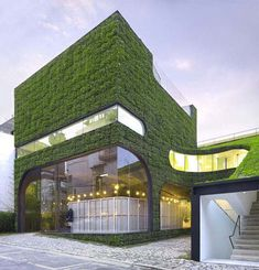 Green shop made with natural material: Belgian designer Ann Demeulemeester's fashion retail shop in the Gangnam district of South Korea's capital city Seoul