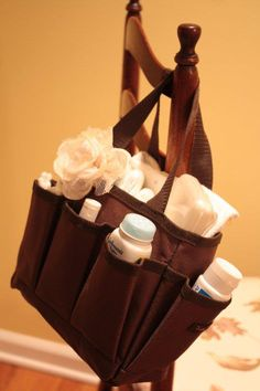Our mini organizer works great as a diaper changing bag to take from room to room!