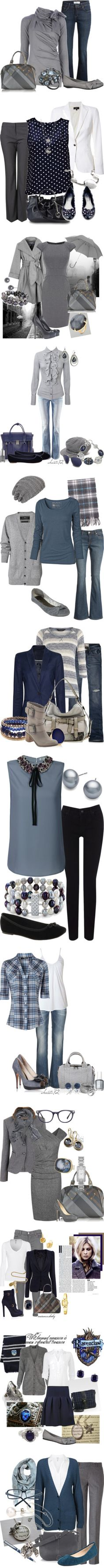 blue and gray by meganpearl on Polyvore featuring Vivienne Westwood, Alexis Bittar, ballet flats, bows, grey, gray, rings, flared jeans, AX Paris and Kenneth Cole