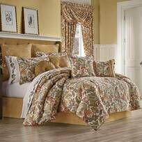 Royal Heritage Home Williamsburg Abby Ivory/White/Green Standard Cotton Reversible Traditional 4 Piece Comforter Set & Reviews | Wayfair Motif Paisley, Floral Comforter, Queens New York, Queen News, Queen Comforter Sets, Gold Comforter Set, Bedding Sets, California King, Bedding Collections