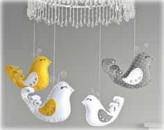 Bird mobile  baby mobile  yellow gray and white  by LullabyMobiles