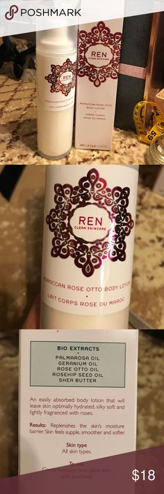 Ren huge bottle, 6.8 oz bottle Moroccan rose. BNWT Anyone that is familiar with this brand understands the value of this item and the quality. This is a Rose Otto body lotion that has never been opened and comes in its original package. All my beauty products I sell have never been used or touched for sanitary reasons. All the ingredients listed are all immediately noticeable and has long term benefits. I can't wear a lot of lotions but this one is especially good for sensitive skin. You…