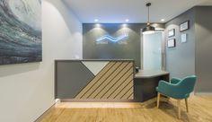 United Dental Clinic | Levitch Design Australia Reception Table Design, Office Table Design, Workspace Design, Reception Desks, Dental Office Decor, Dental Office Design, Clinic Interior Design, Clinic Design, Futuristic Interior