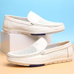 3b6fe47f82e9bc Men Hollow Out Breathable Soft Doug Shoes Casual Driving Leather Loafers  Leather Design