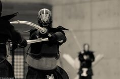 Touche!  Strikes to the head and throat are best. Strikes to the body can add points towards victory. (Kendo)