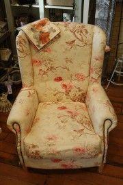 Prachtige stoel in Engelse stijl met mooie gebloemde stof | * stoelen * | keetje knus