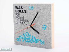 """Uhren - Wanduhr Wollfilz/Holz """"Was solls..."""" - ein Designerstück von eigengut bei DaWanda"""