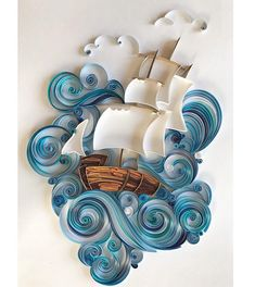 Original 3D wall art was made in the quilling technique. Unique paper art is perfect gift for men, wonderful gift for daddy or husband! Also Quilled sea and paper ship will be unusual gift for any occasion! And such a gift can impress and amaze. Quilling is a painstaking and difficult